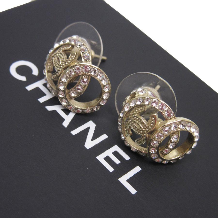 Cc Chanel Earrings: Auth CHANEL C16V CC Logo Piearce Earrings Rhinestone