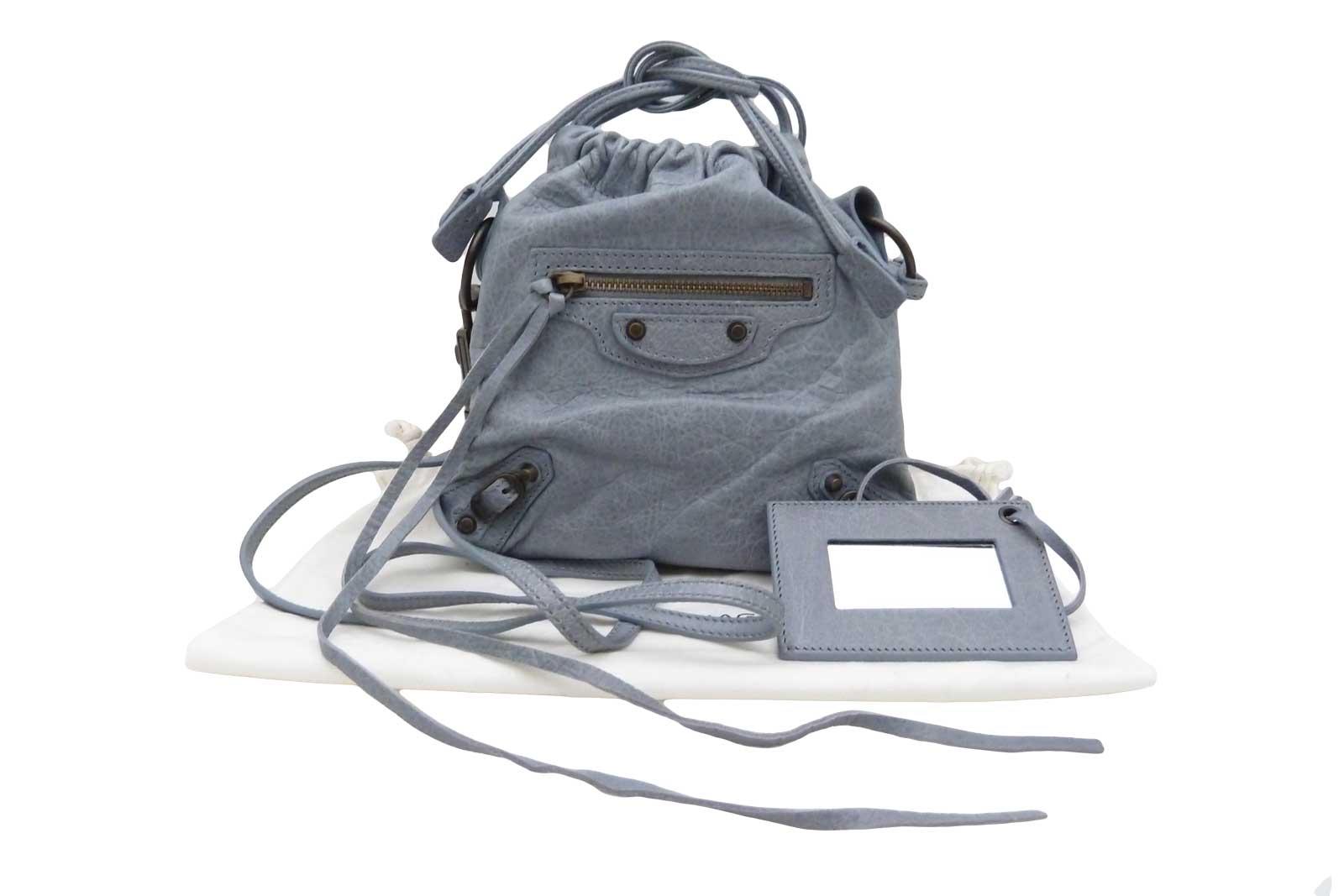 de68b85a36 Auth BALENCIAGA Small Drawstring Crossbody Shoulder Bag Blue Gray ...