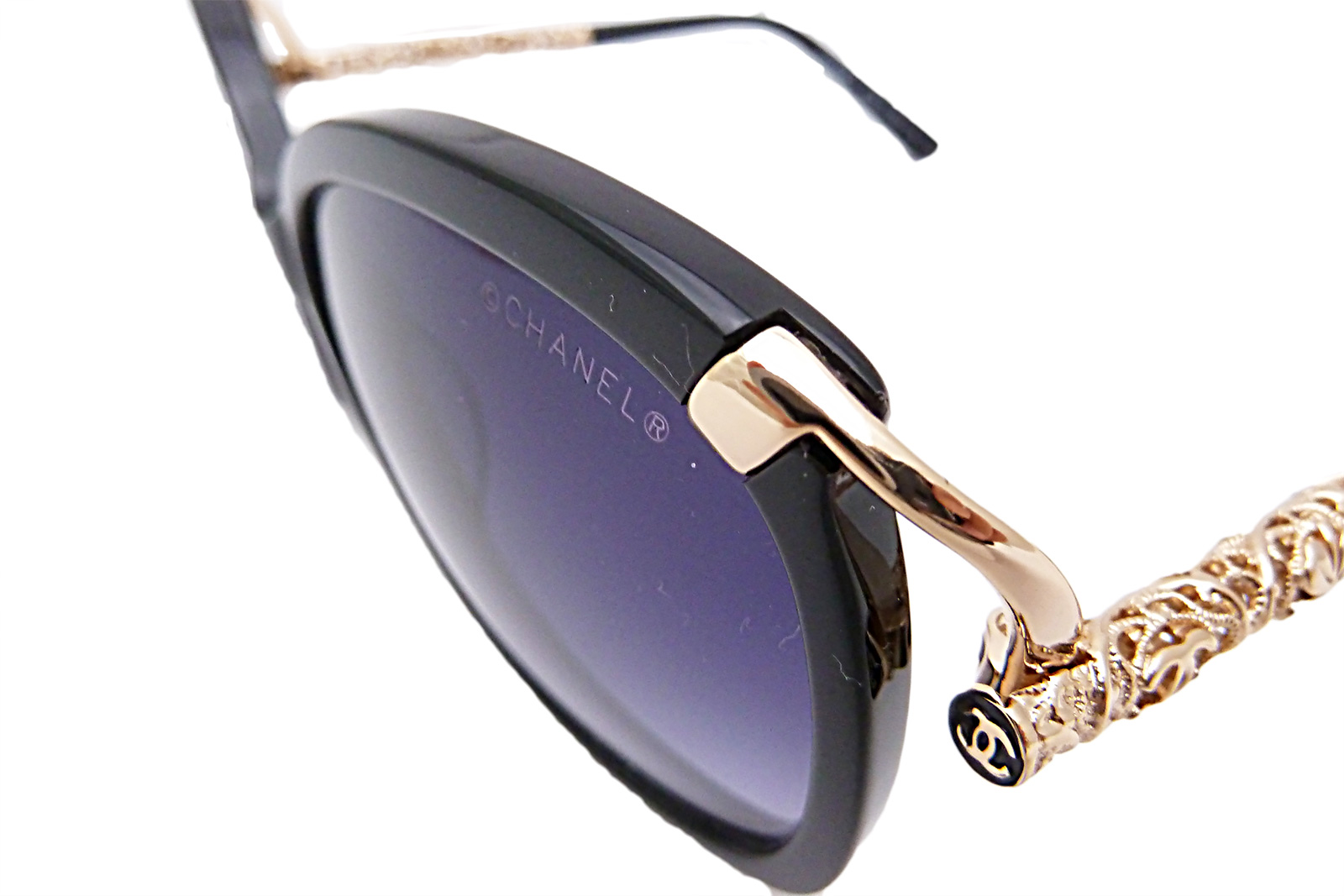 Auth Chanel CC Logo Sunglasses Black Pink Gold Frame ...