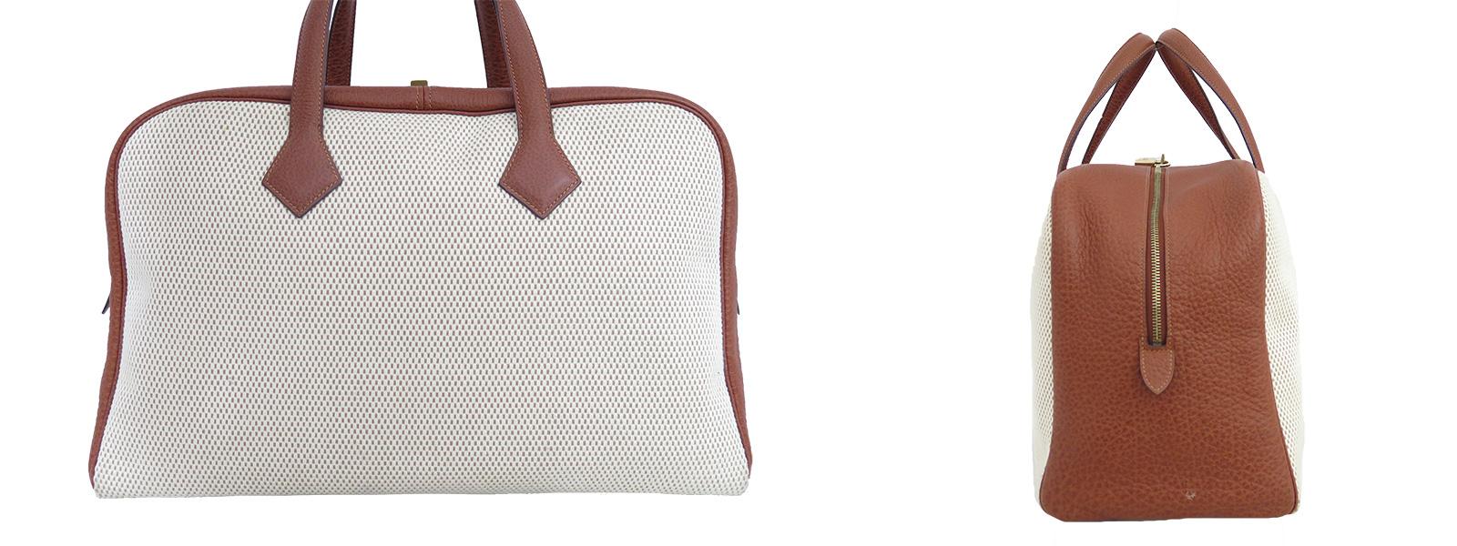 Auth Hermes Square F 2002 Toile GM Victoria Travel Bag Beige Brown ...