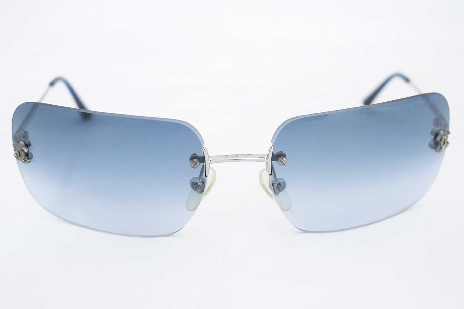 Auth Chanel CC Logo Frameless Sunglasses Gradation Blue ...