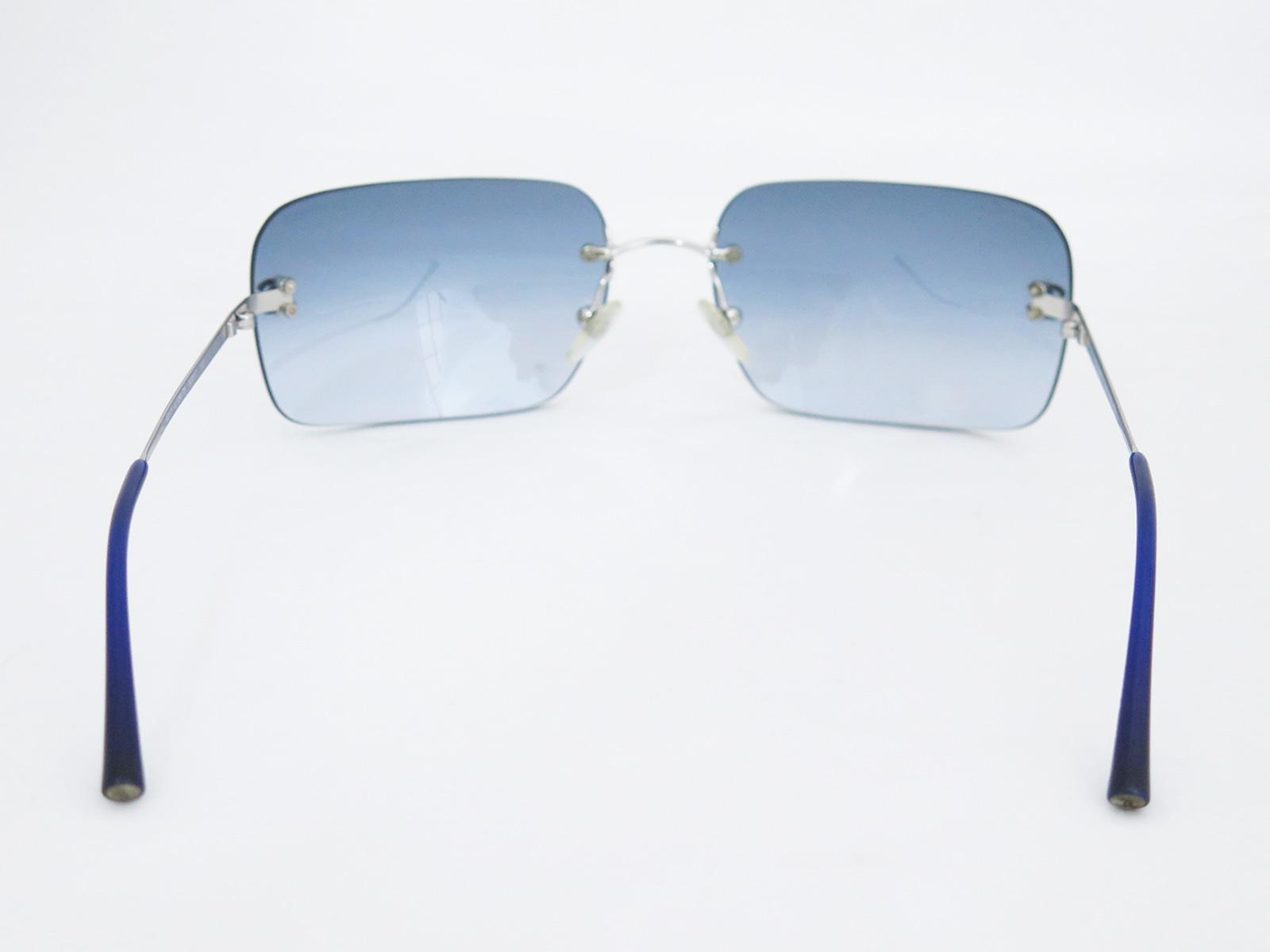 Frameless Glasses Spares : Auth Chanel CC Logo Frameless Sunglasses Gradation Blue ...