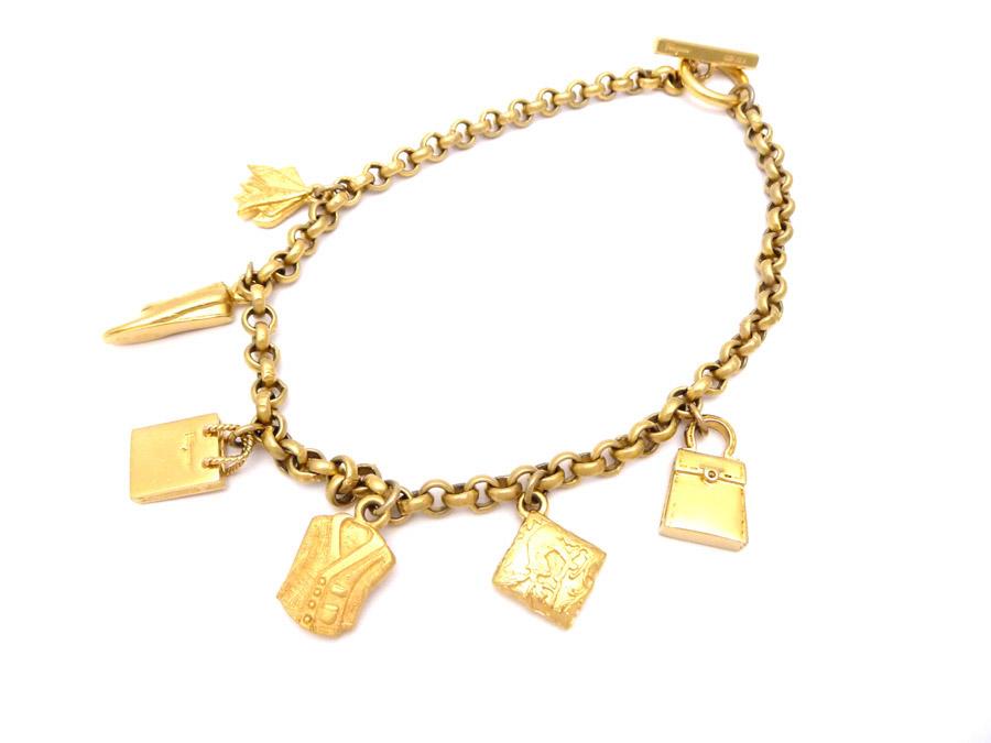 auth salvatore ferragamo charm chain necklace goldtone