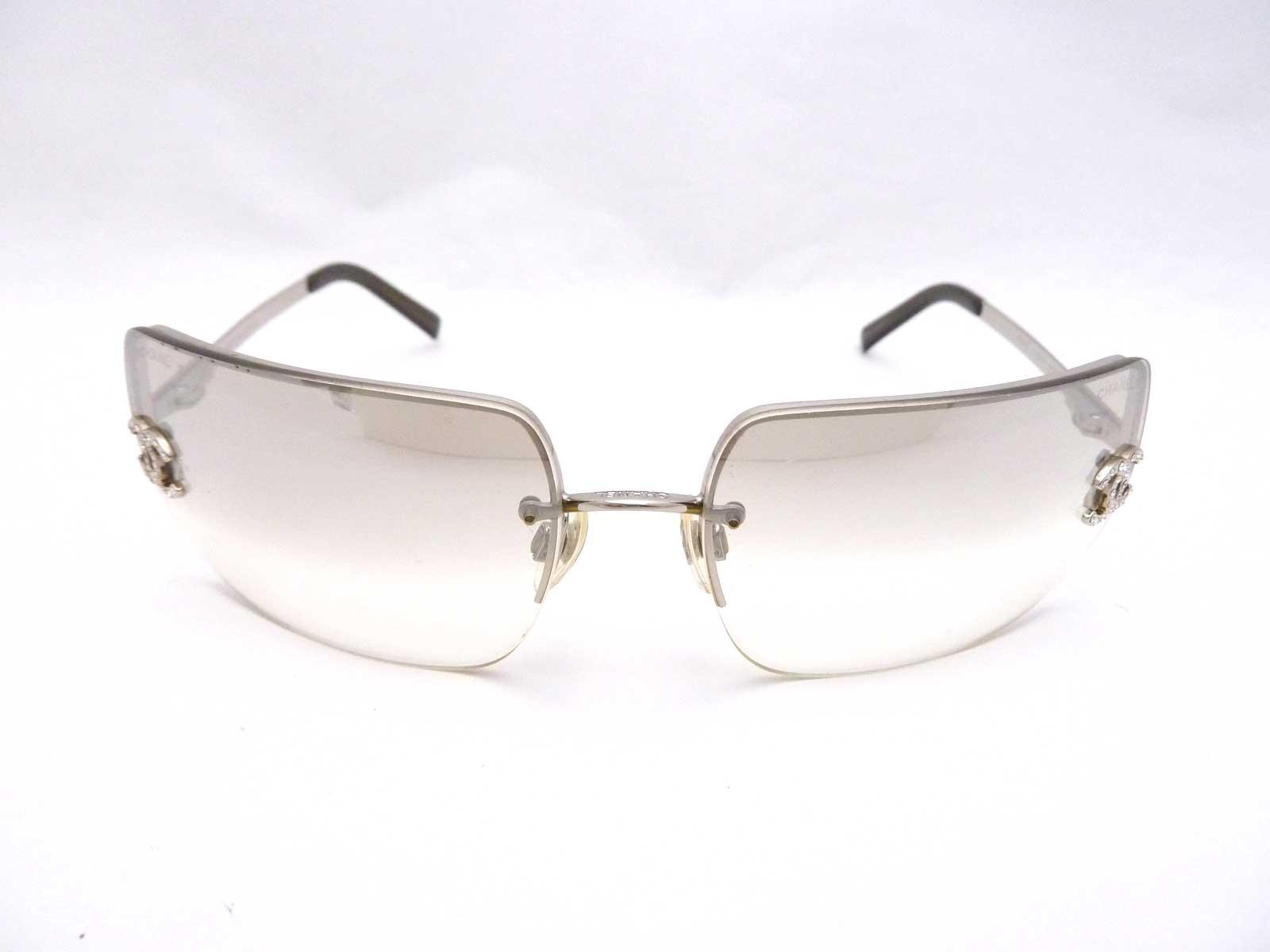 Auth CHANEL CC Logo Frameless Sunglasses Gray Gradation ...