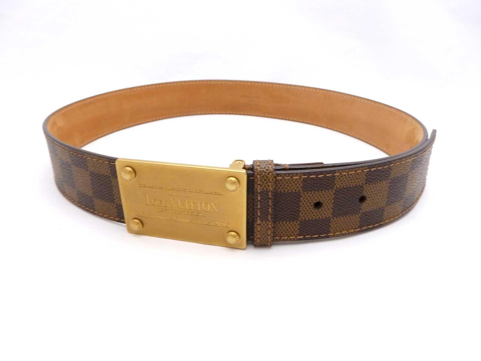 Auth Louis Vuitton Damier Ebene Inventeur Buckle Belt Size ...