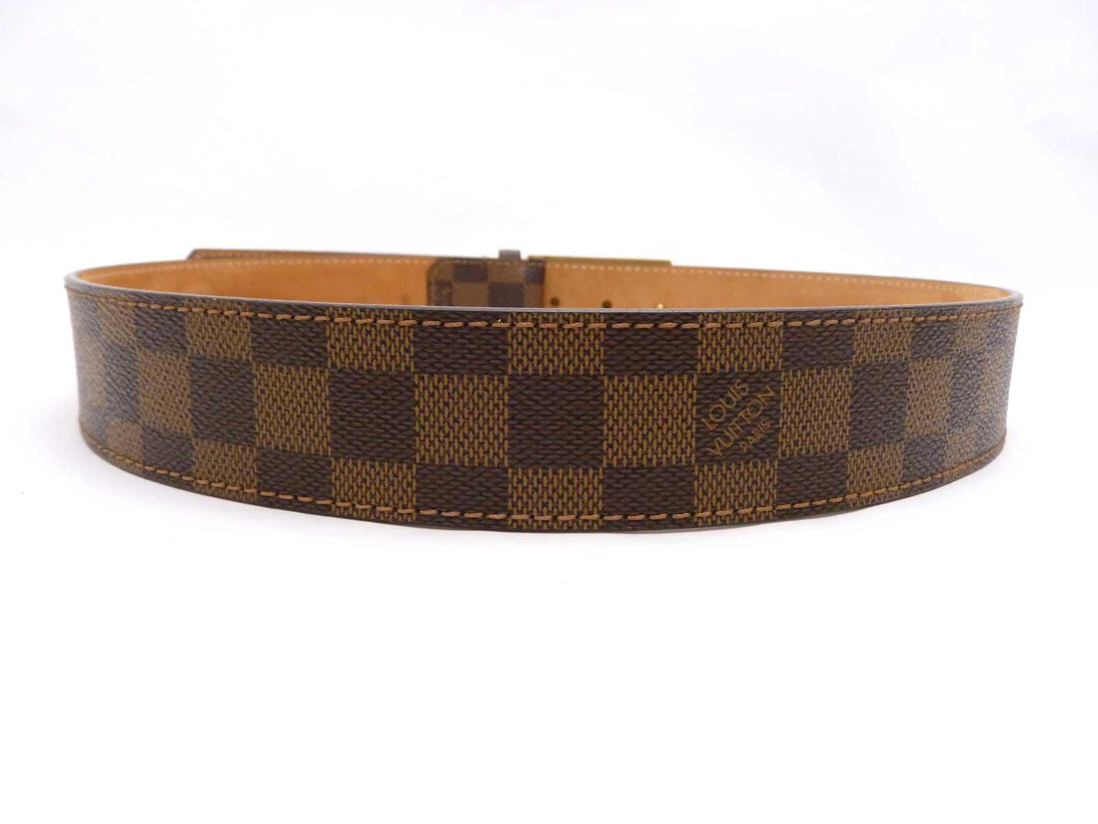 auth louis vuitton damier ebene inventeur buckle belt size