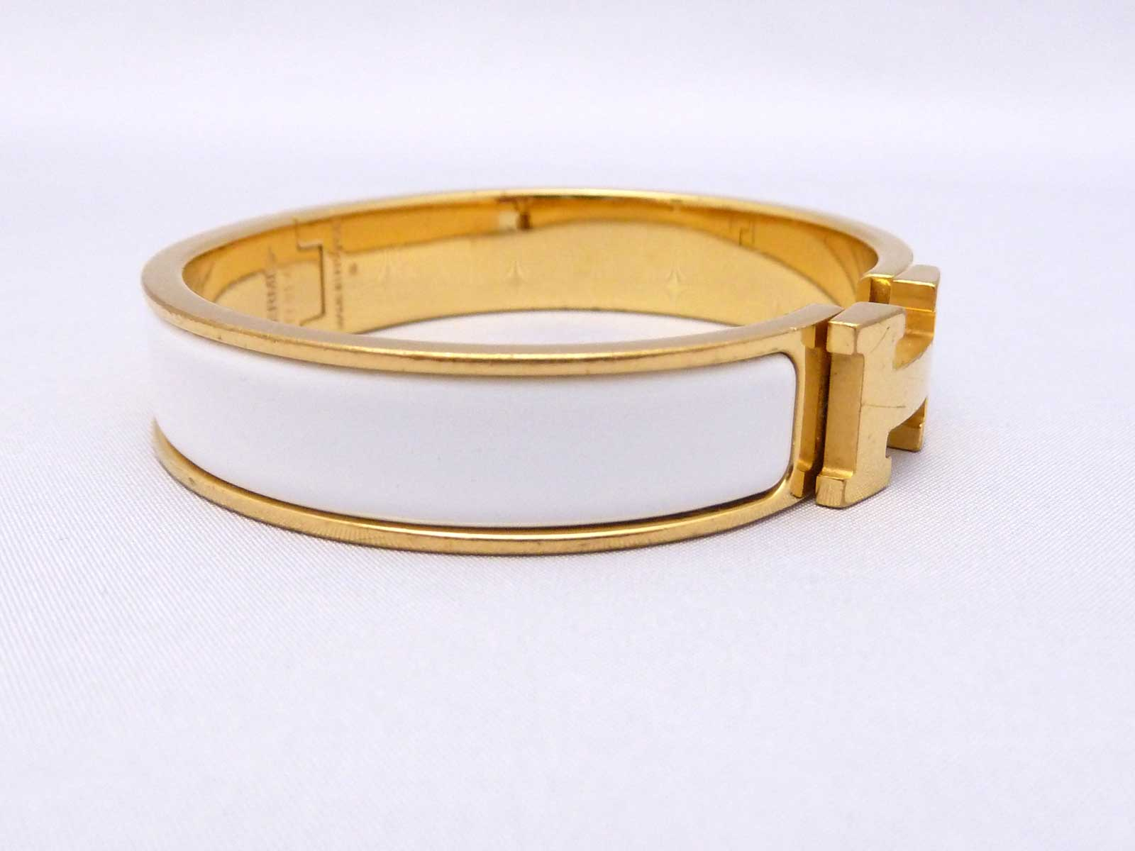 auth hermes clic clac h bangle bracelet goldtone enamel white worn out e25485 ebay
