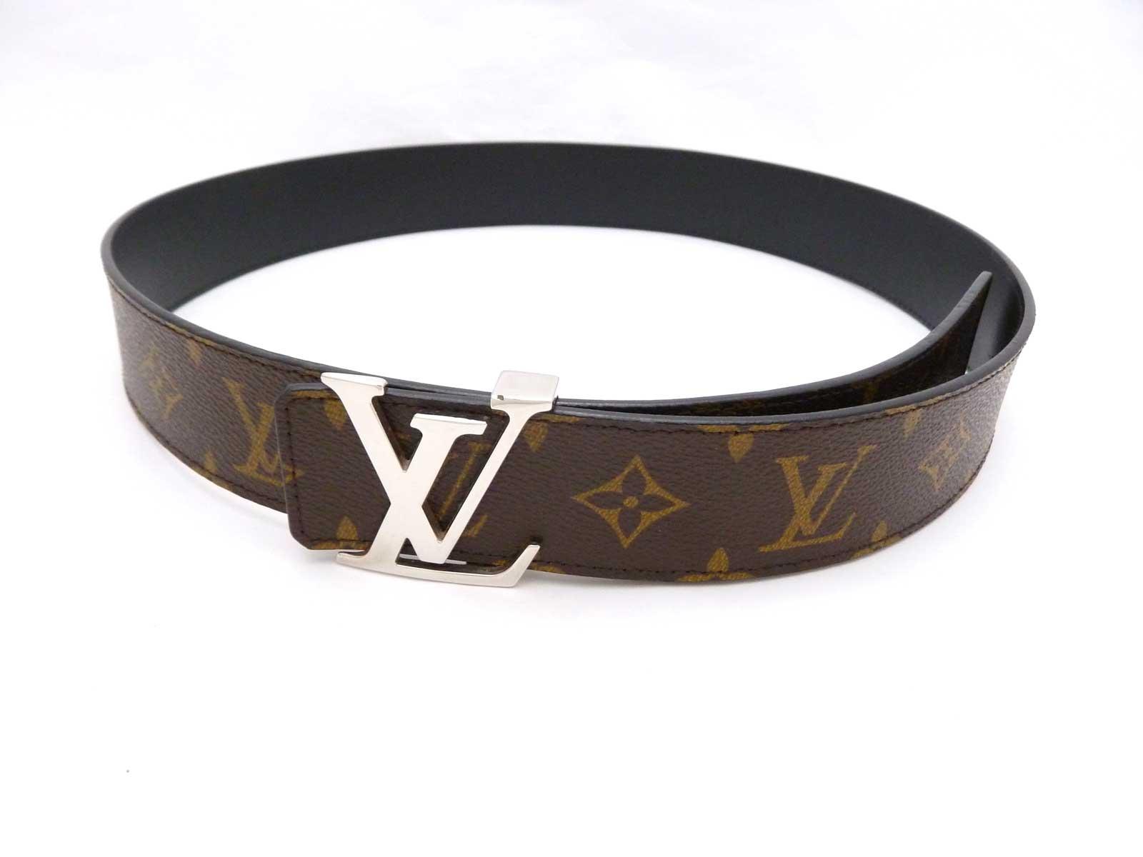 Auth Louis Vuitton Monogram Canvas Initiales Buckle Belt ...