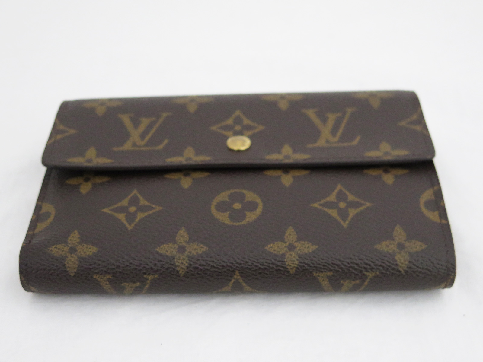 auth louis vuitton m61202 monogram porto tresor etui. Black Bedroom Furniture Sets. Home Design Ideas