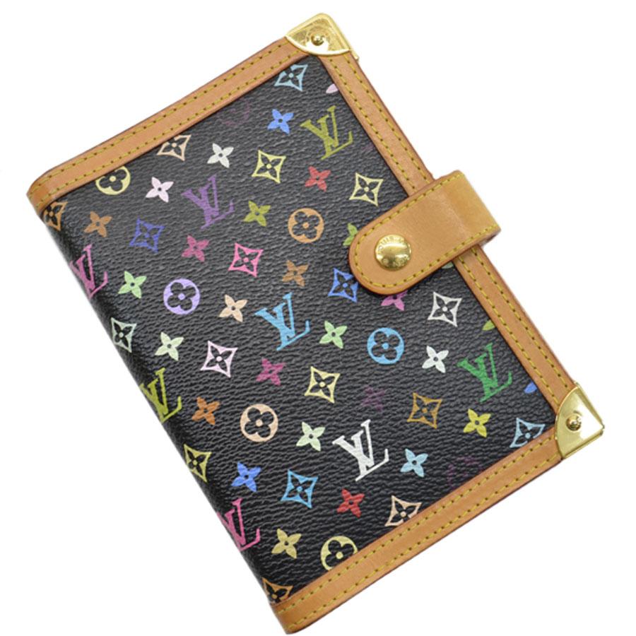 Auth Louis Vuitton Monogram Multicolor Agenda PM Black R20895 - 51303