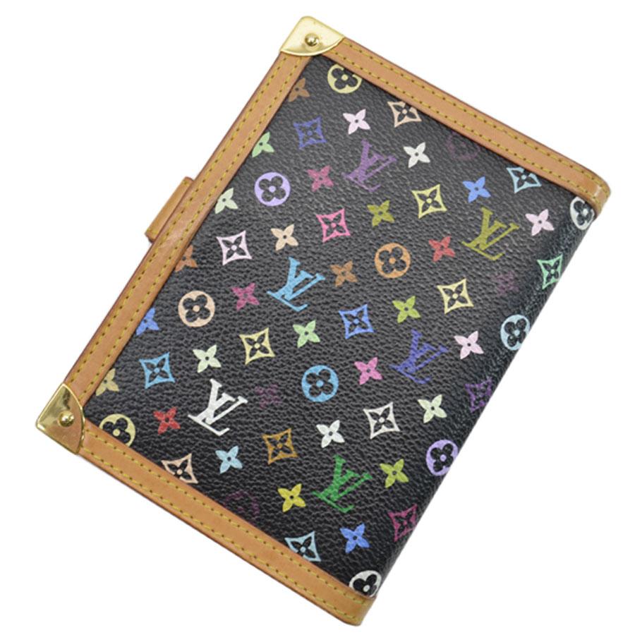 Auth Louis Vuitton Monogram Multicolor Agenda PM Black R20895 - 51303 3