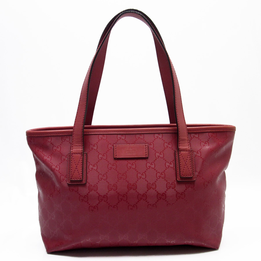 auth gucci gg imprime mini tote shoulder bag red pvc leather 211138 87175 ebay. Black Bedroom Furniture Sets. Home Design Ideas