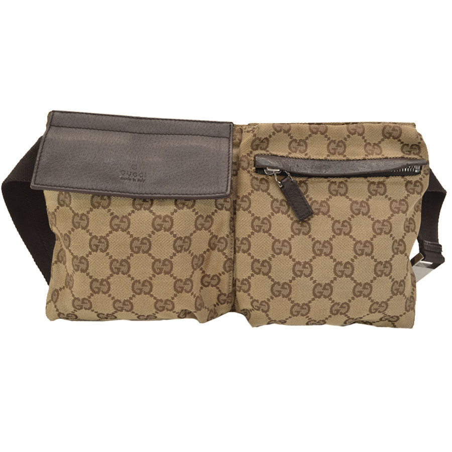 e41575d0c40 Auth GUCCI GG Canvas Waist Bag Bum Bag Brown Beige Canvas Leather ...