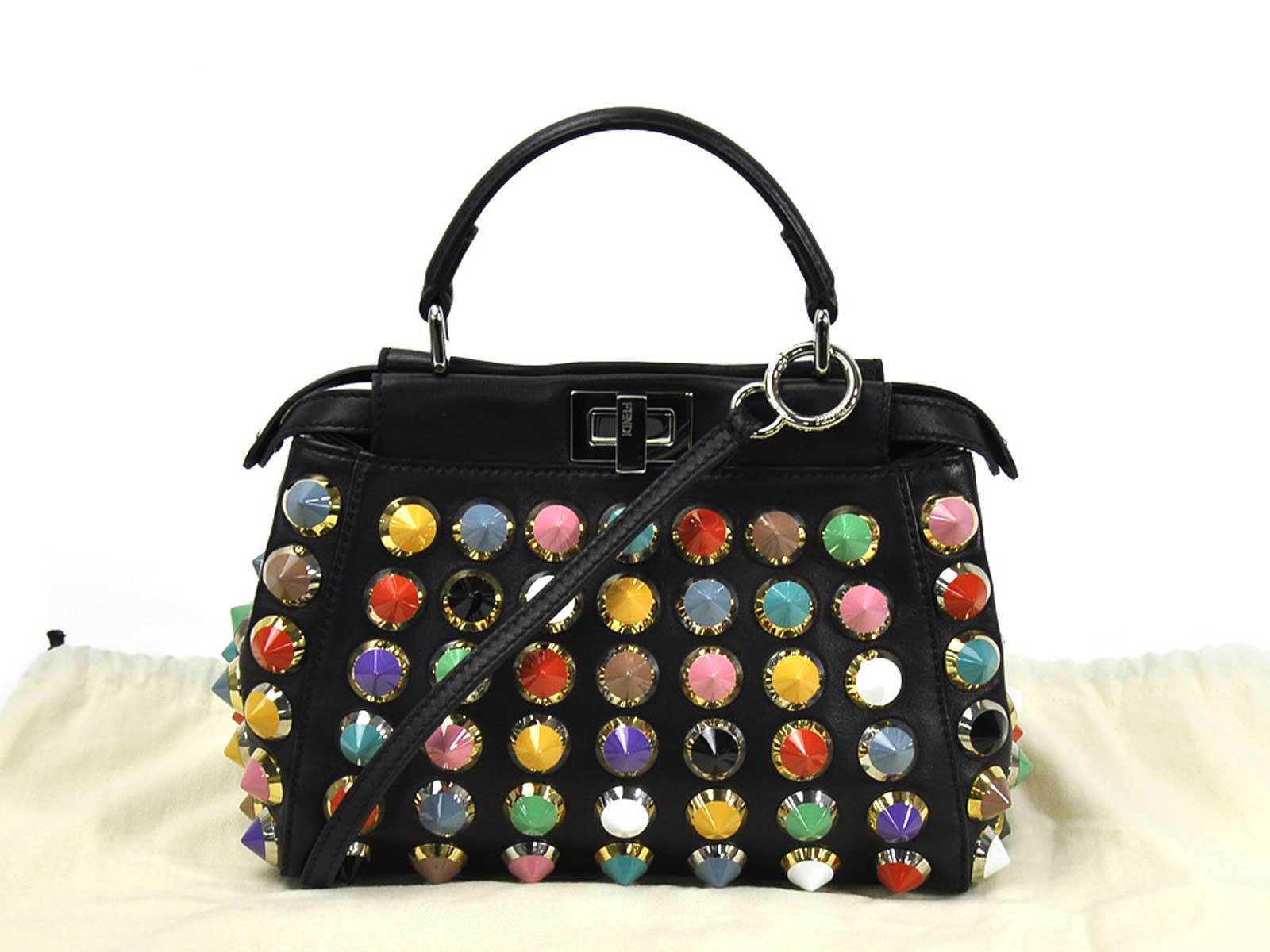 06b58ccd7c Auth FENDI Studded Peekaboo Mini Handbag Shoulder Bag Black ...