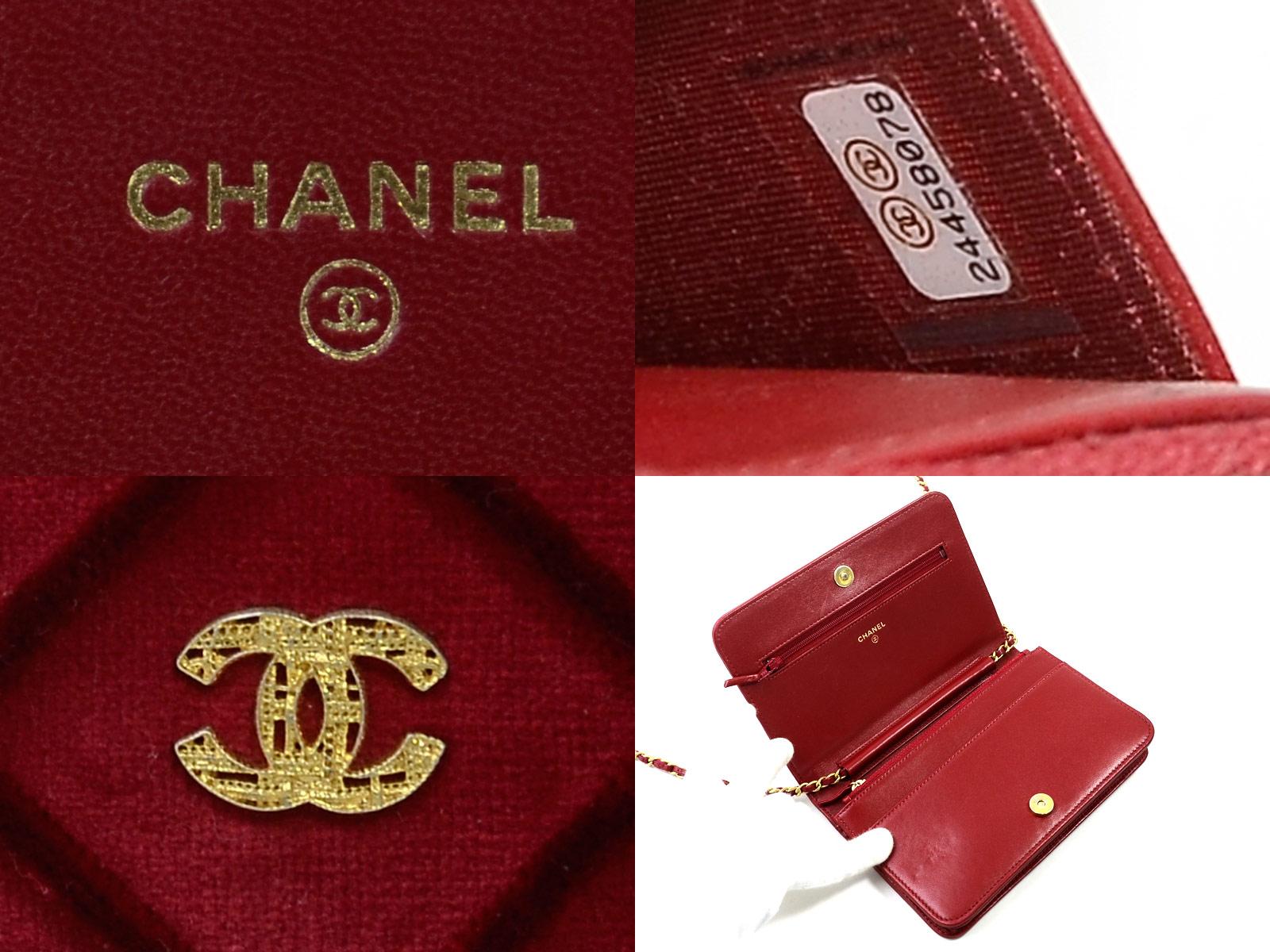 f9bb0e77399b Auth CHANEL CC Logo Wallet On Chain Shoulder Bag Dark Red Velvet ...