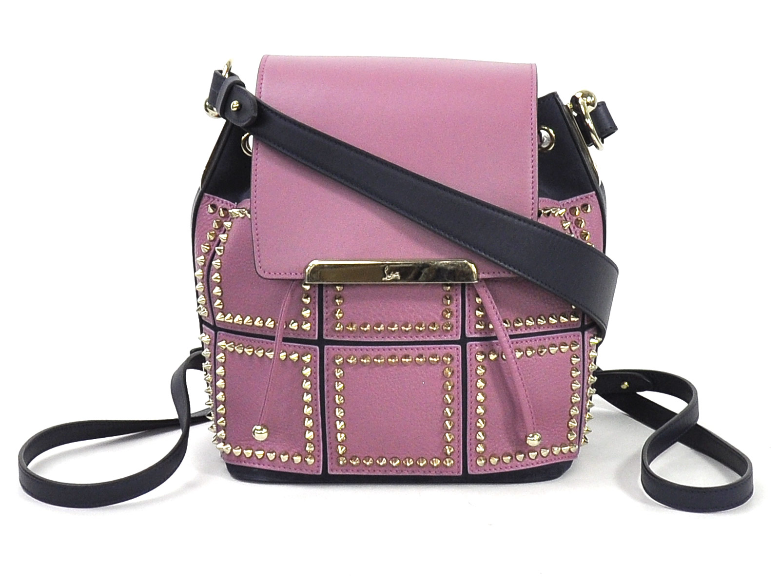 6bca47a1b03 Details about Auth Christian Louboutin Lucky L Bucket Backpack Shoulder Bag  Purple/Navy 96831