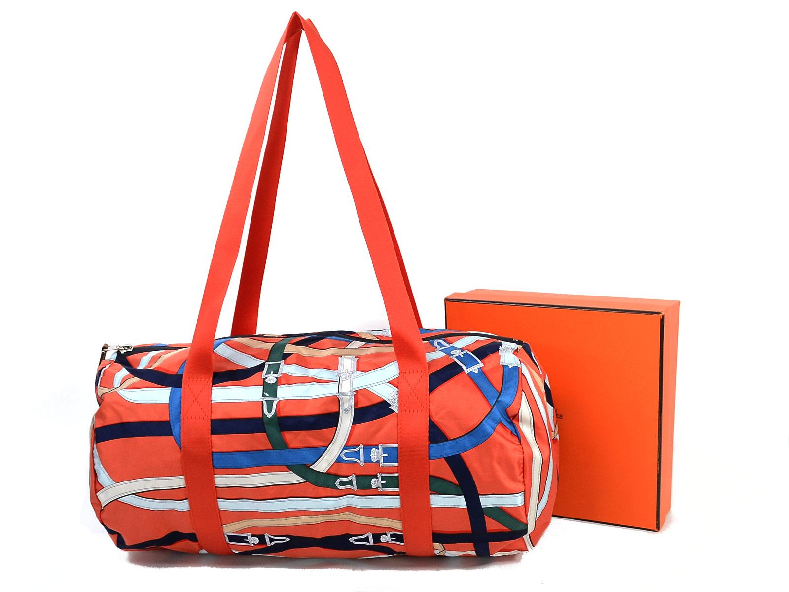 Auth Hermes A 2017 Airsilk Duffle 38 Shoulder Bag Orangemulticolor Silk 96928