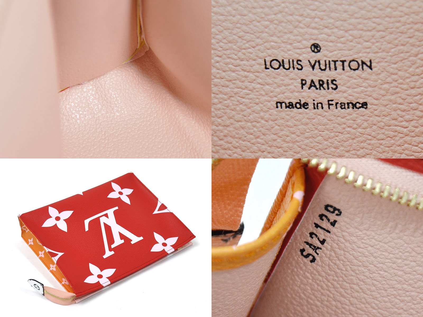 Auth-Louis-Vuitton-Monogram-Giant-Pochette-Toilette-Clutch-Bag-Rouge-Pink-96998 thumbnail 11