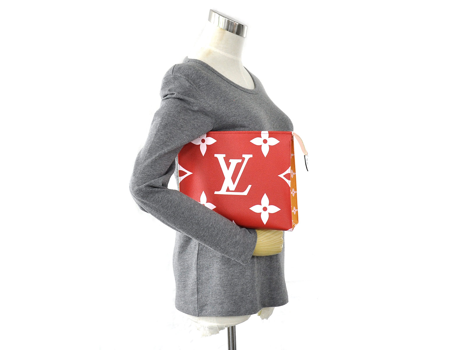 Auth-Louis-Vuitton-Monogram-Giant-Pochette-Toilette-Clutch-Bag-Rouge-Pink-96998 thumbnail 2
