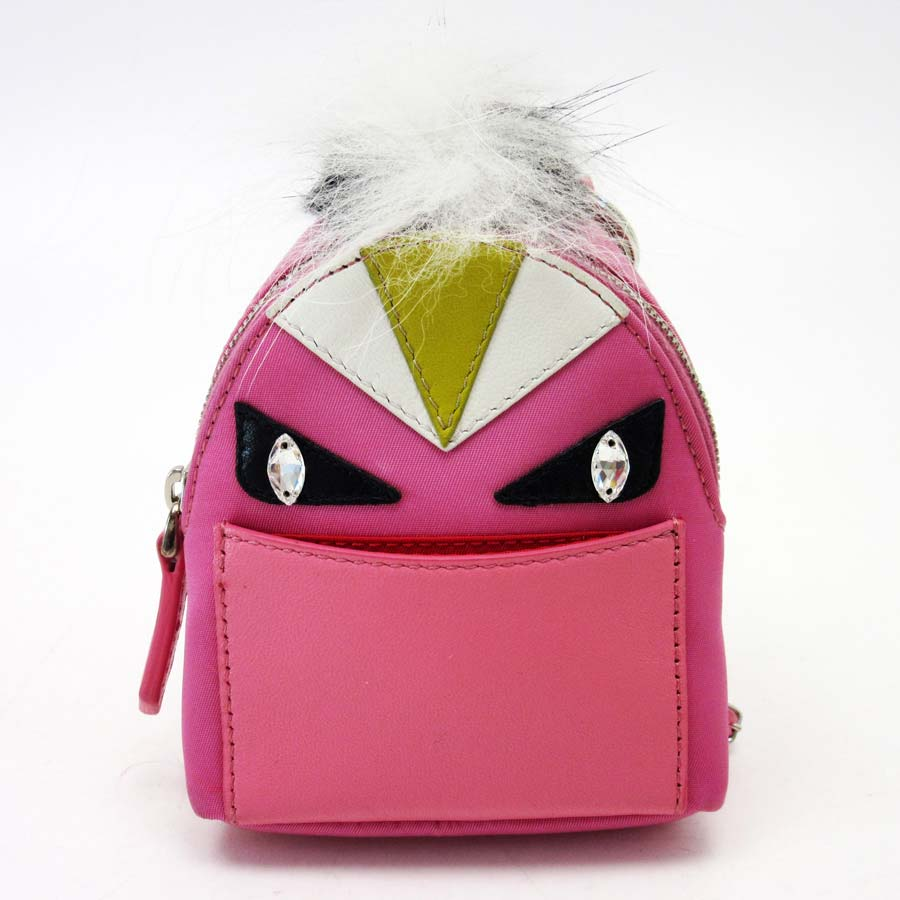 Auth FENDI Bag Bugs Bag Charm Pink Multicolor Nylon Leather ... 09661081601e