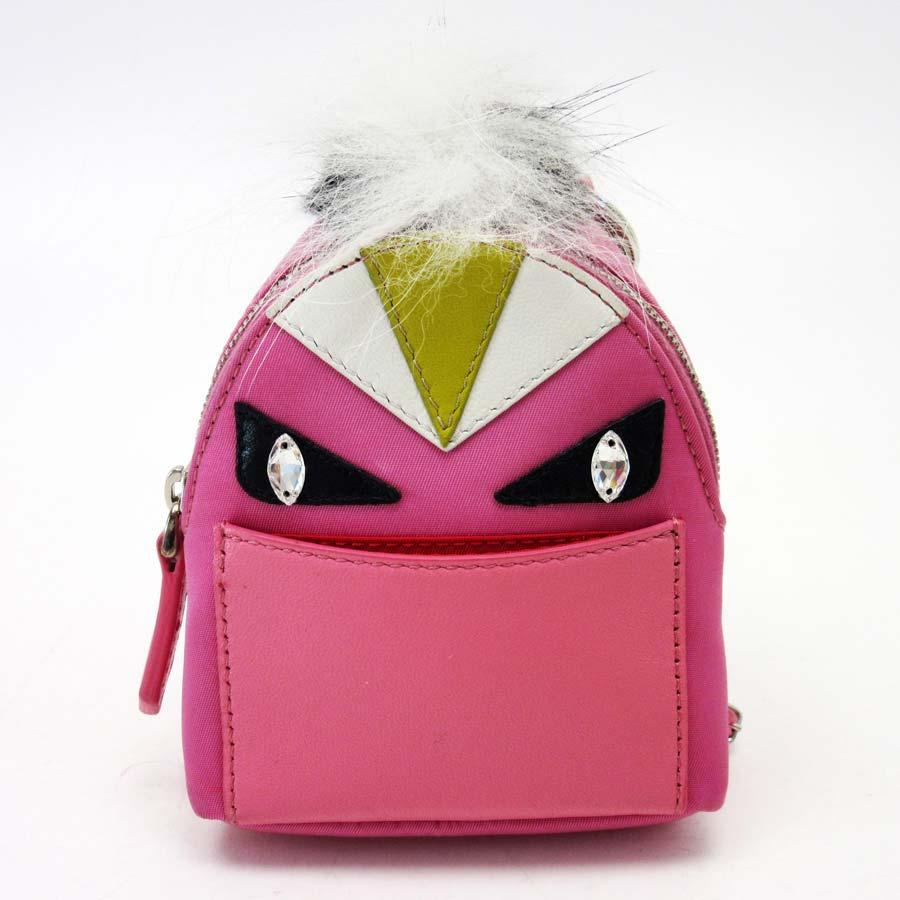 53d23136321e Auth FENDI Bag Bugs Bag Charm Pink Multicolor Nylon Leather ...