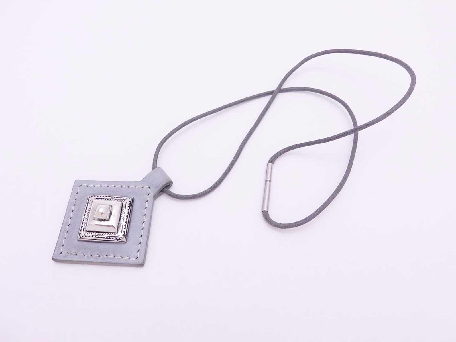 fd21775ed Details about Auth HERMES Touareg Pendant Necklace Light Blue Gray Leather/Silver  925 - e37763