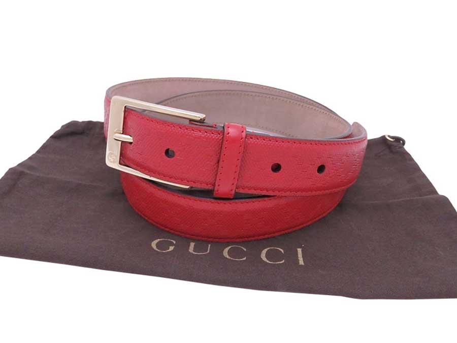 b17e7e7c5e5 Details about Auth Gucci Diamante Belt Red Gold Leather Goldtone - e38069