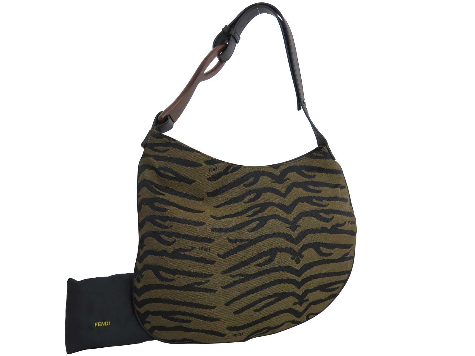 Details about Auth FENDI Logo Shoulder Bag Brown Silvertone Canvas Leather  - e38343 973148731ac7