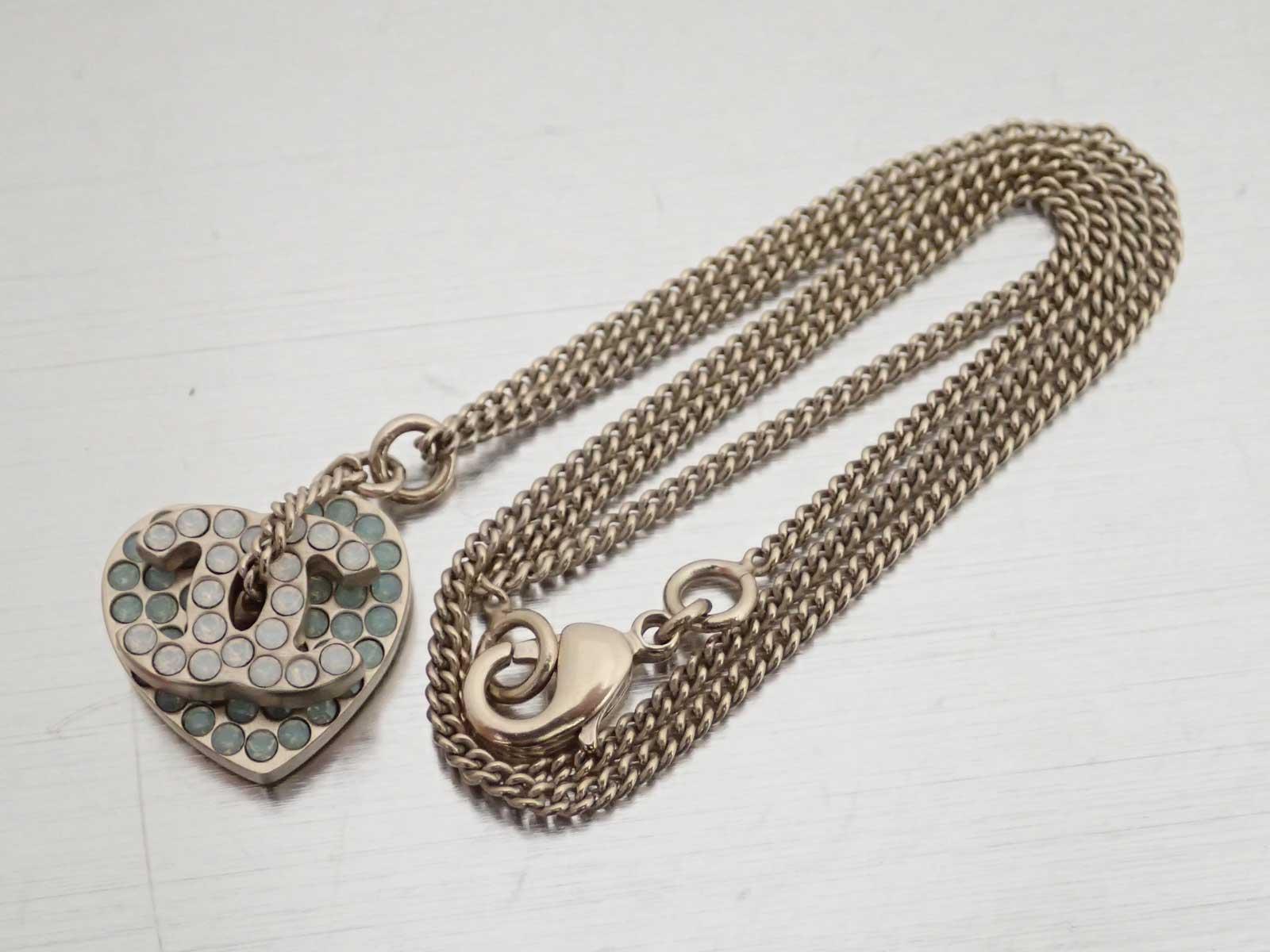 df4bdc4fc Details about Auth CHANEL CC Logo Chain Necklace Blue/Goldtone  Rhinestone/Metal - e38365