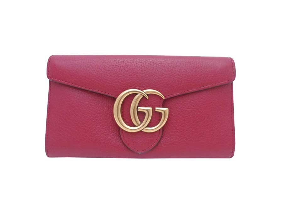 e6ab7c546ba Auth Gucci GG Marmont Long Wallet Red Leather Goldtone - e38723. Item Photos