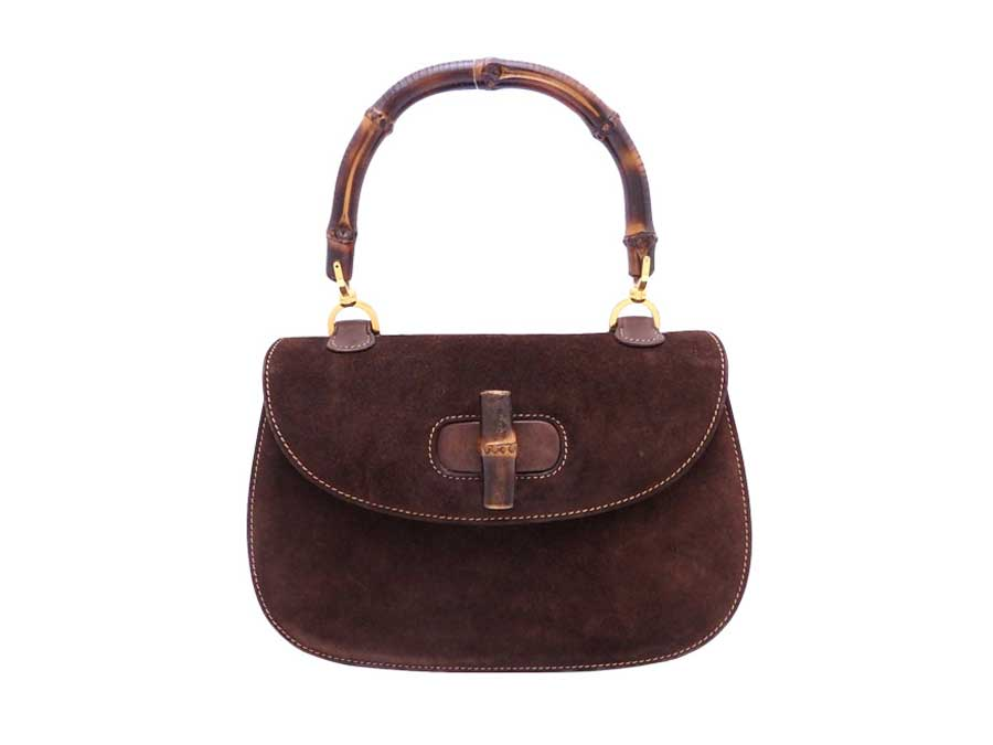 33ca7ff147 Details about Auth Gucci Bamboo Handle Handbag Dark Brown Suede/Leather -  e38791