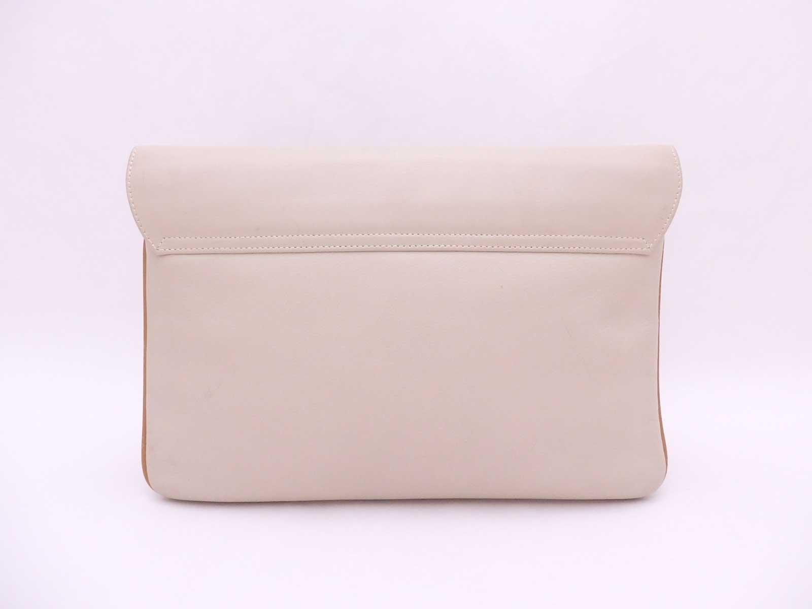 Details about Auth CELINE Logos Clutch Bag Beige Leather Goldtone - e38794 8aa01be0219d4