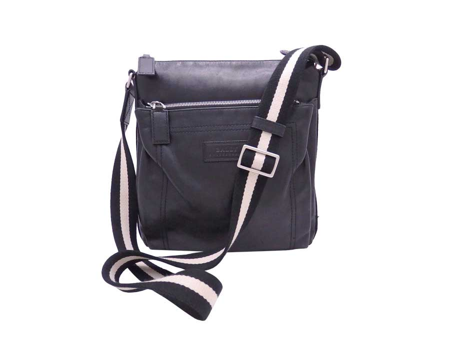 e655aab2b6 Details about Auth BALLY Logos Crossbody Shoulder Bag Black/White Leather/Canvas  - e38891