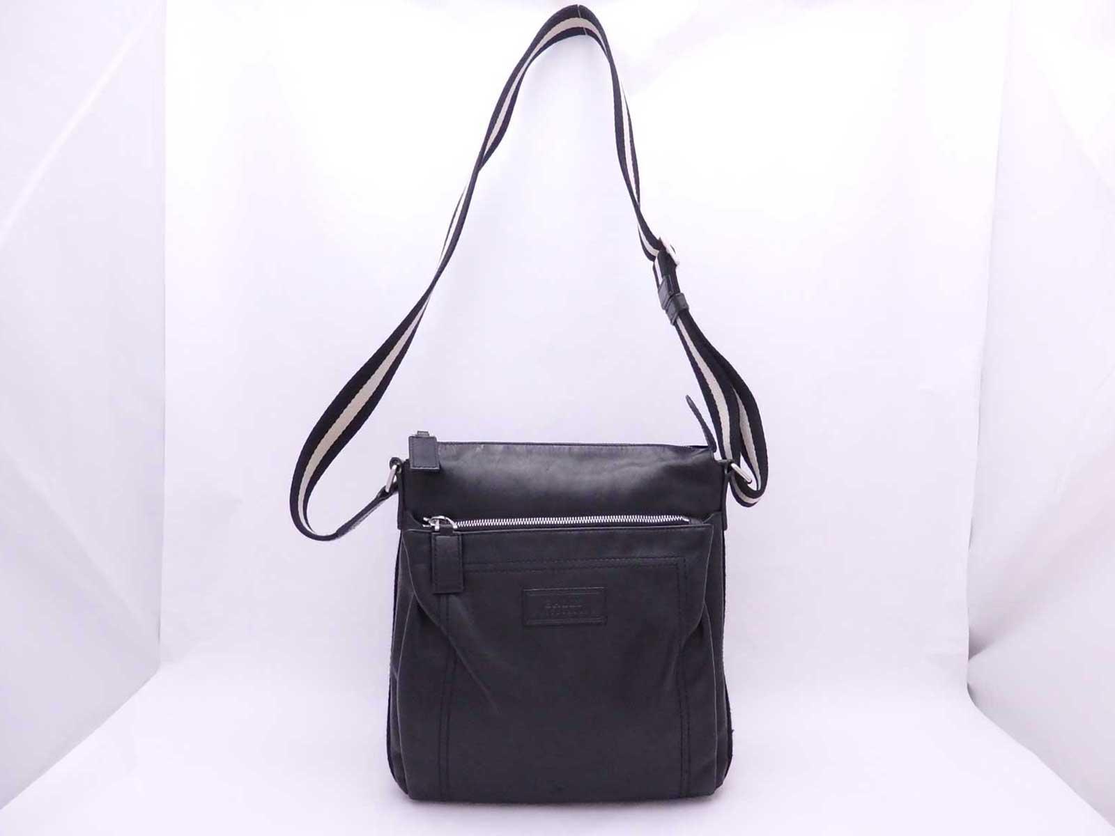 a06b995ee1b Auth BALLY Logos Crossbody Shoulder Bag Black/White Leather/Canvas ...
