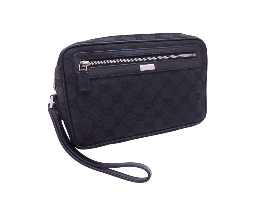 d04902357ce Details about Auth Gucci GG Canvas Clutch Bag Black Canvas Leather -  e39142. Popular Item