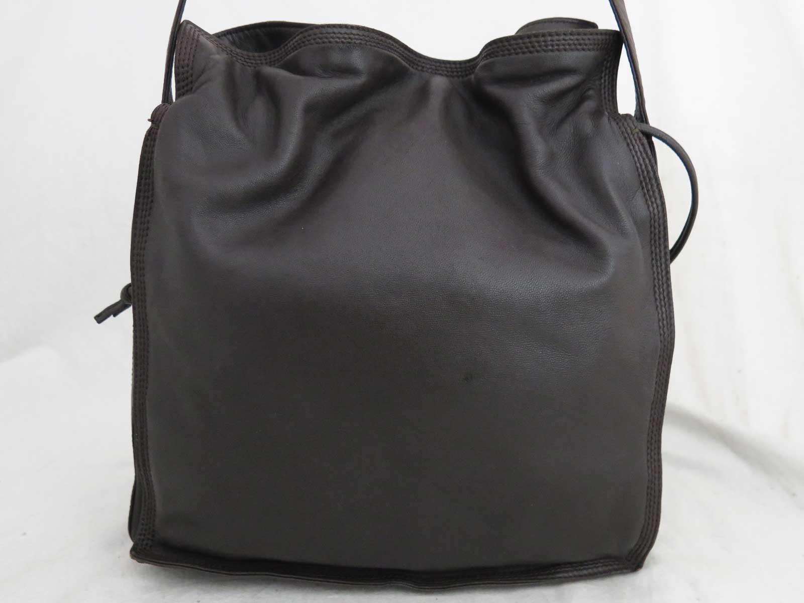 48d3d2cefa Details about Auth LOEWE Anagram Shoulder Bag Dark Brown/Goldtone Leather -  e39194