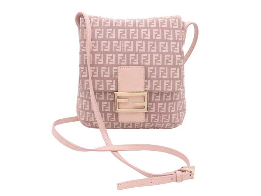 09a53f9e2f569 Details about Auth FENDI Zucchino Crossbody Shoulder Bag Pink Beige Canvas/Leather  - e39246