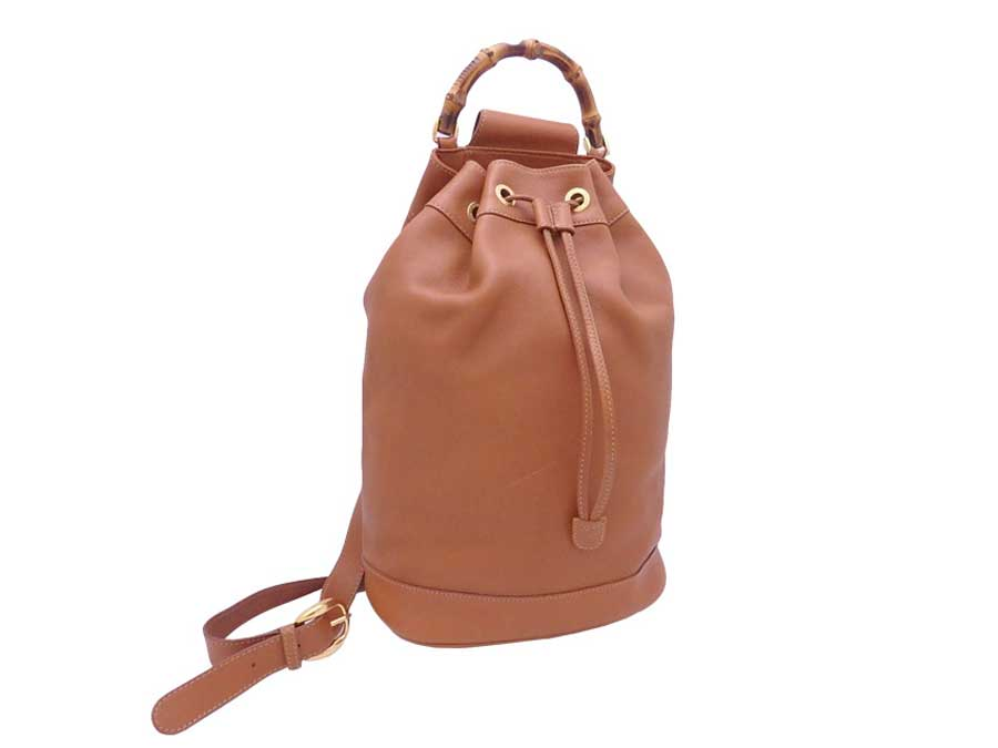 715d4356a2 Details about Auth Gucci Bamboo Drawstring Handbag Shoulder Bag Brown/Gold  Leather - e39545