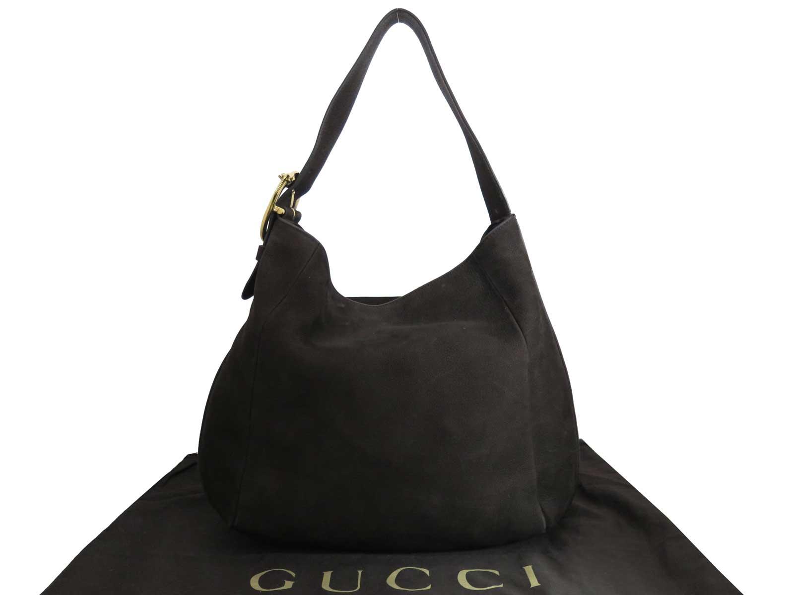 bb19b54cd6 Auth Gucci Horse Head Big Shoulder Bag Dark Brown/Goldtone Suede - e39600.  Item Photos