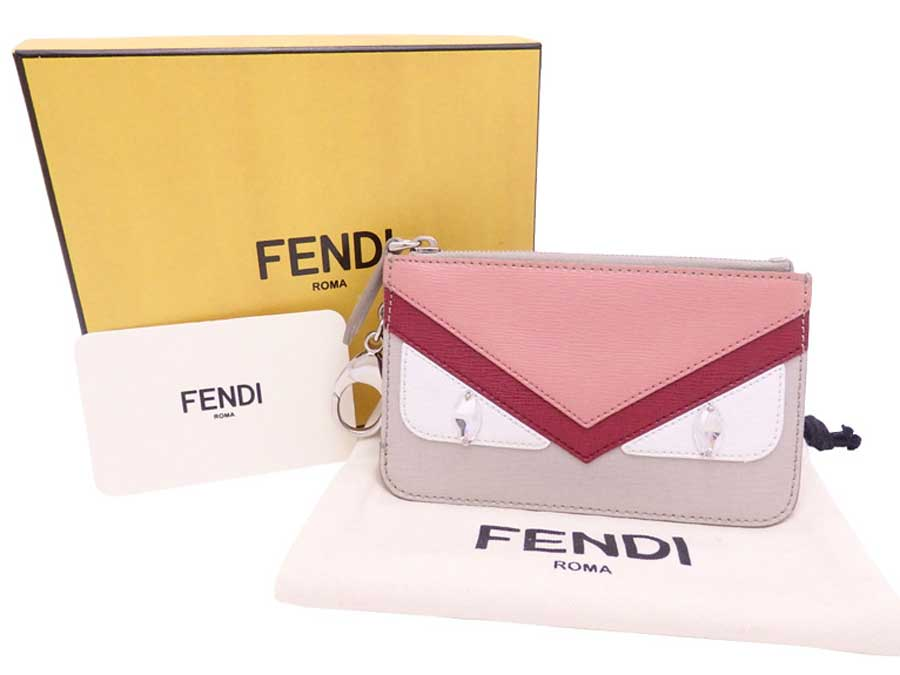 f2ed4ac237ec Auth FENDI Monster Key Case Coin Purse Light Gray Pink Leather Silvertone  e40253. Item Photos