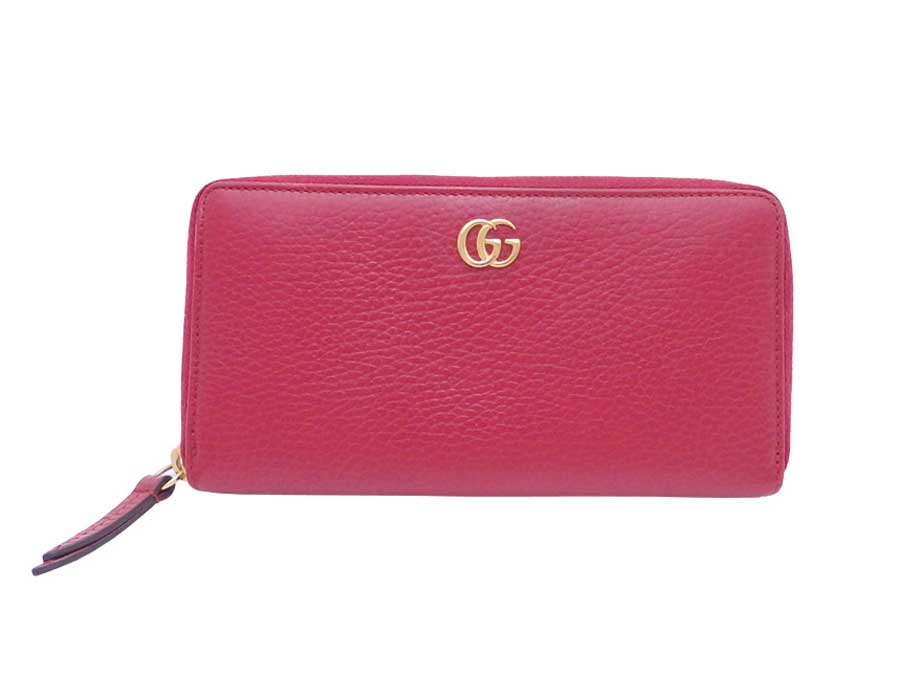e1867240ba4 Auth Gucci GG Petite Marmont Zip Around Long Wallet Red Gold Leather -  e40273. Item Photos