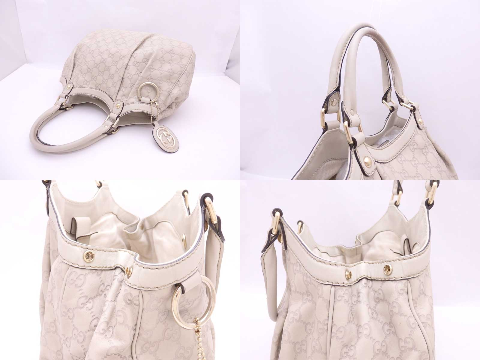 dfe93cd7cc2 Auth Gucci Guccissima Sukey Shoulder Bag Beige Leather *USED ...
