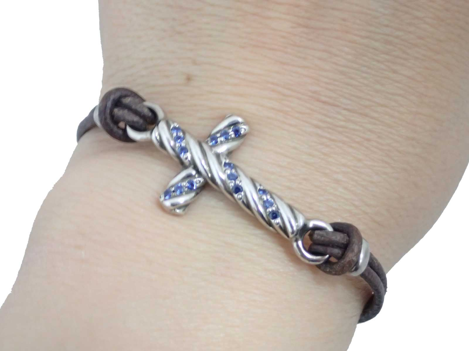 2ba72680e Auth Gucci Cross Charm Motif Bangle Bracelet Brown/Blue/Silvertone -  e40633. Item Photos