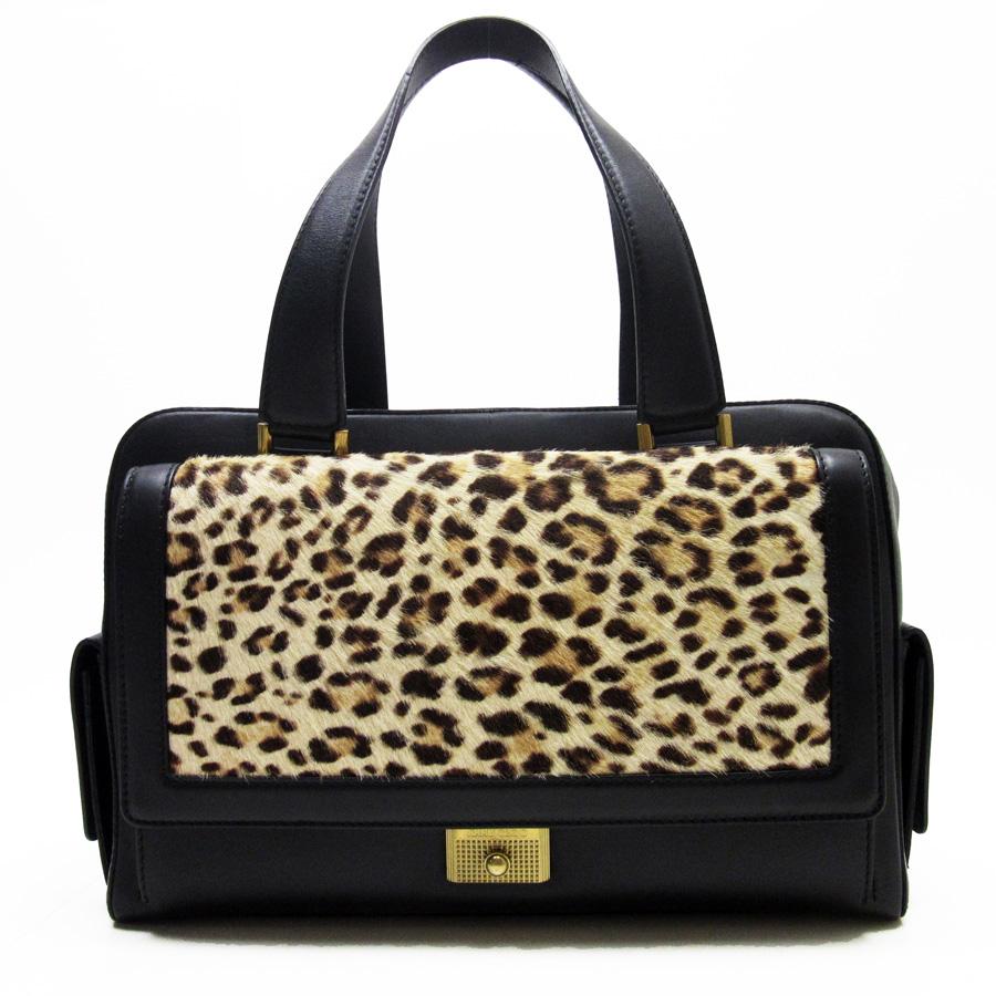 Image Is Loading Auth Jimmy Choo Leopard Handbag Black Beige Leather