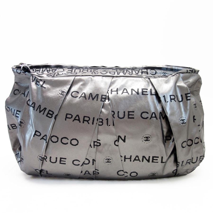 5fa2867967f0 Auth CHANEL Unlimited Clutch Bag Handbag Silver Black Nylon - h16981 ...