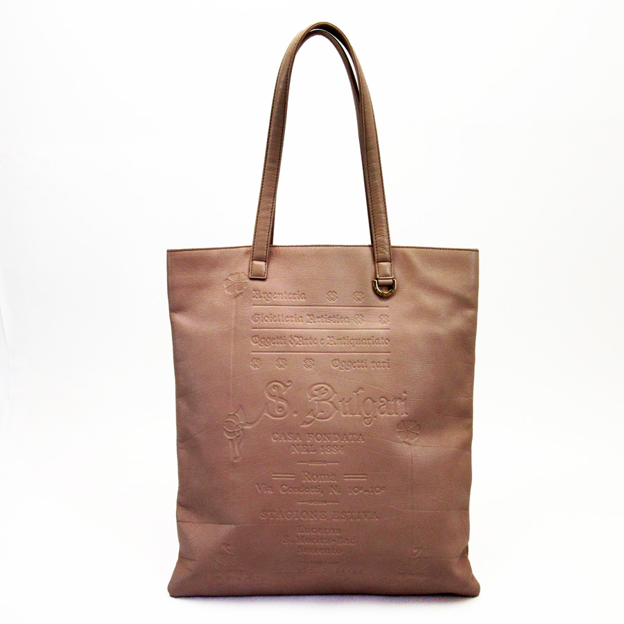 3745a398715e Auth BVLGARI S.BULGARI Tote Bag Shoulder Bag Pink Leather Goldtone ...