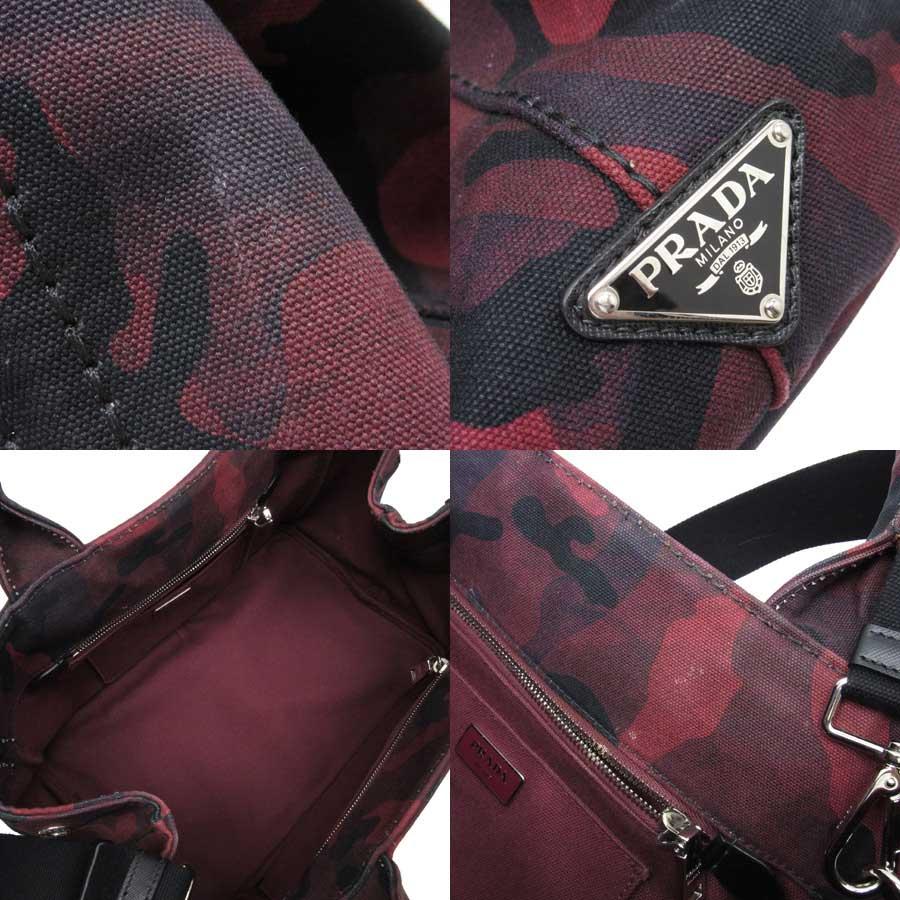 Auth PRADA CANAPA CAMOUFLA 2-Way Handbag Shoulder Bag BORDEAUX ... 393ddb9419da0