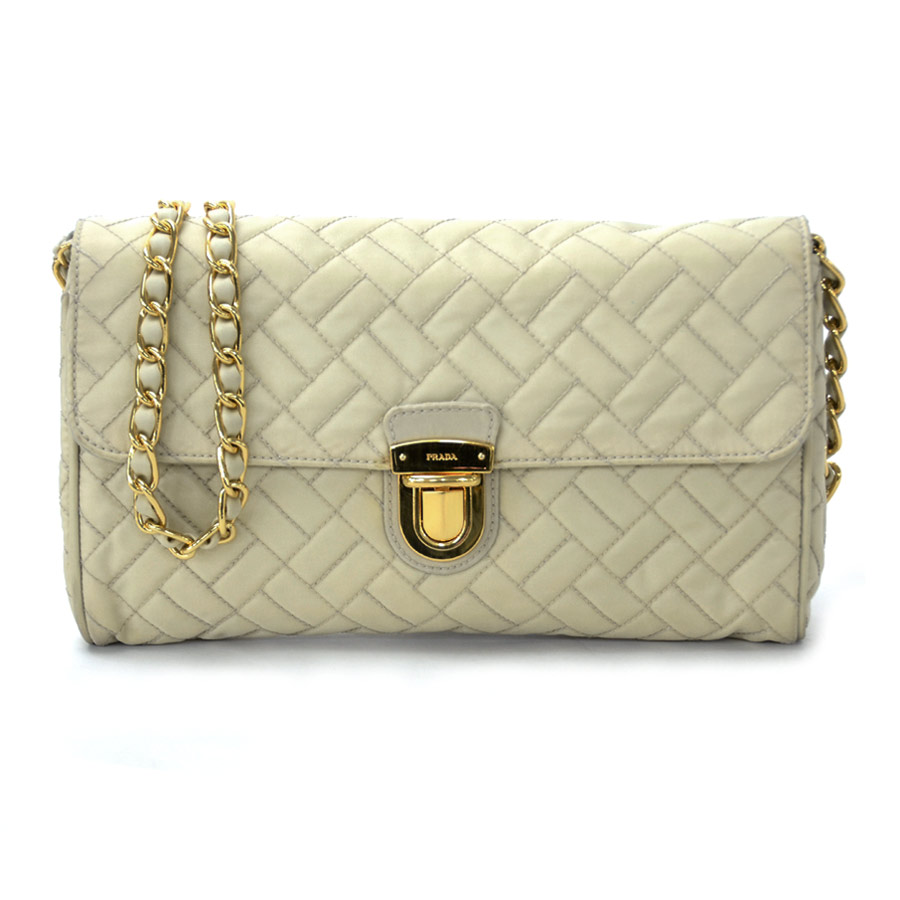 356e10776ea9 Image is loading Auth-PRADA-Quilted-Chain-Pochette-Shoulder-Bag-Light-