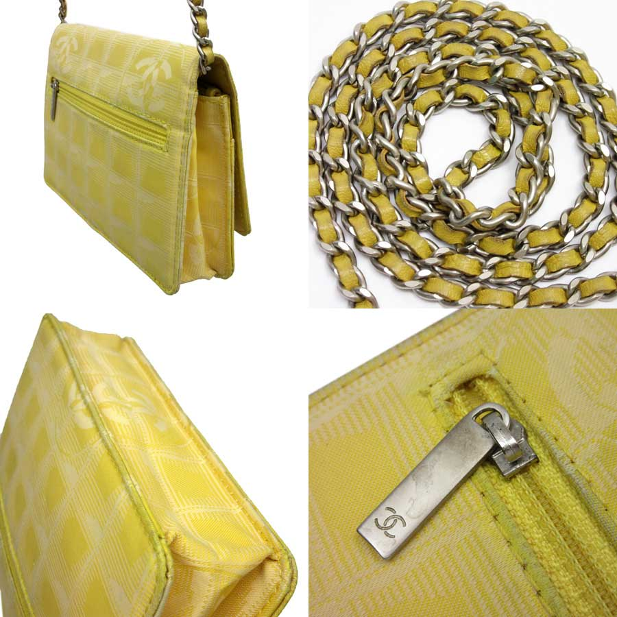 6c45baf730a23f Auth CHANEL New Travel Line Wallet On Chain WOC Shoulder Bag Yellow ...