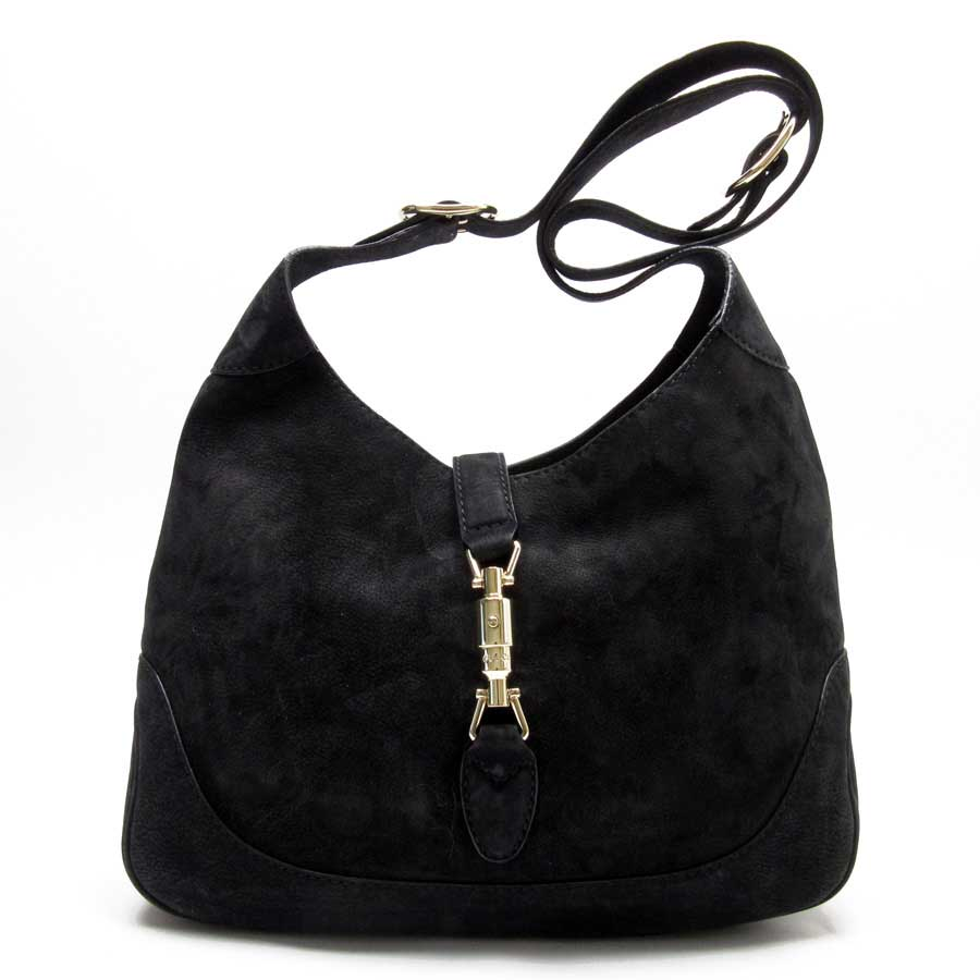 1652e63af030 Auth GUCCI New Jackie Shoulder Bag Black/Gold Suede/Goldtone 277520 ...